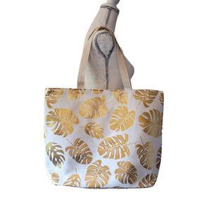 Gold Foil Palm Print Tote Bag White